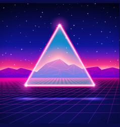 Retro futuristic landscape with triangle and shiny vector