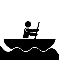 rowing sport icon vector image