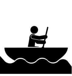 rowing sport icon vector image