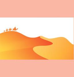 sahara desert landscape and caravan camels vector image