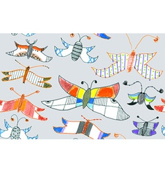 Seamless pattern of butterflies and moths vector image