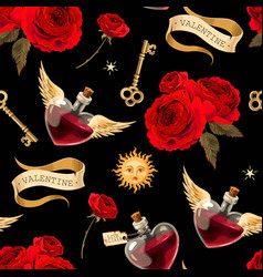 seamless pattern with bottles love potion vector image