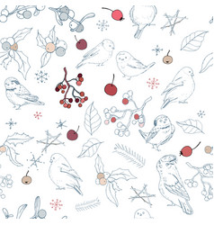 seamless pattern with different wild winter birds vector image