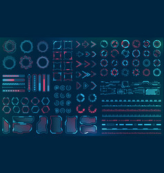 set hud interface elements - lines circles vector image
