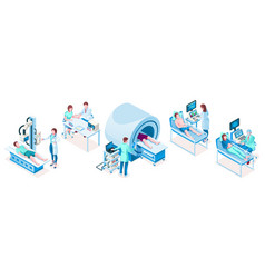set isometric medical technology equipment vector image