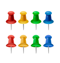 set of bright push pins vector image