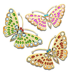 set of brooches golden butterfly with precious vector image