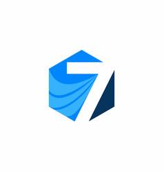 seven hexagon logo vector image