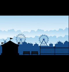 Silhouette carnival funfair with amusement scenery vector