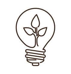 Silhouette light bulb flat icon with leaf inside vector