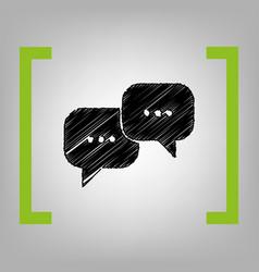 speech bubbles sign black scribble icon vector image