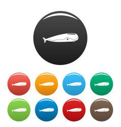 sperm whale icons set color vector image
