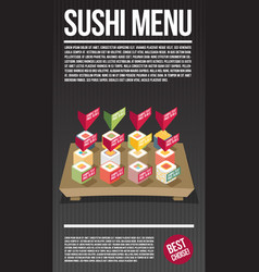 sushi menu template flat vector image