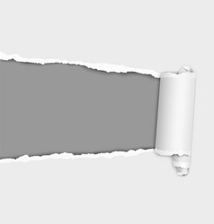 Torn elongated hole from left to right in white vector