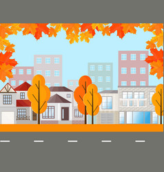 town street view buildings in autumn season vector image