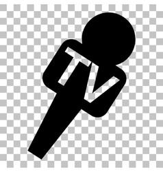 TV microphone sign Flat style black vector image