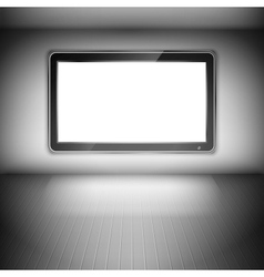 Tv set on the wall in dark room vector