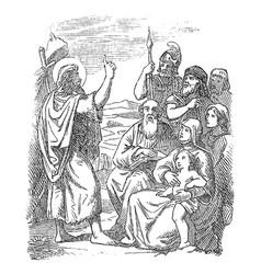 Vintage drawing biblical story john vector