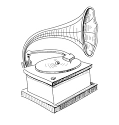 Vintage gramophone isolated on white vector image