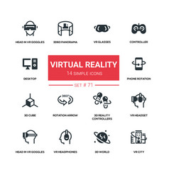 virtual reality - line design silhouette icons set vector image