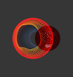 wireframe object with lines and dots abstract 3d vector image