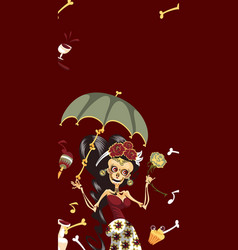 woman skeleton in mystic dress with umbrella vector image