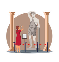 Woman take photo antique statue in historic museum vector