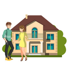 young couple outside of their new home vector image