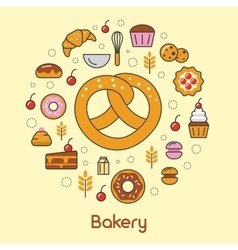 Bakery and Desserts Line Art Thin Icons Set vector image vector image