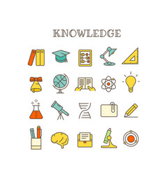 Different knowledge thin line color icons set vector