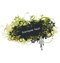 grunge floral graphic banner vector image