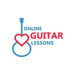 heart guitar logo vector image
