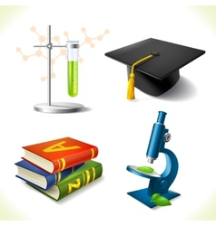 Realistic education icons set vector image