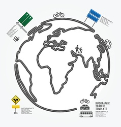 World Traffic diagram line style template vector image