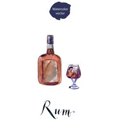 bottle and glass of rum vector image