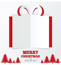 Christmas gift box cut the paper Christmas tree vector image