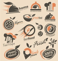 Food and restaurant logo designs vector image