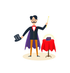magician entertains amuses the audience vector image