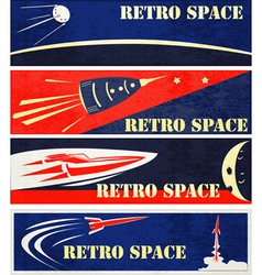 Retro Space Web Banners vector image vector image