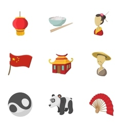 Tourism in China icons set cartoon style vector image