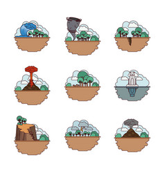 Climate change set icons vector