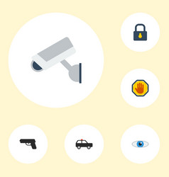 flat icons camera armored car vision and other vector image vector image