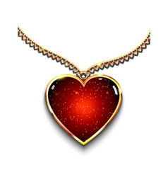 heart-shaped pendant on necklace vector image
