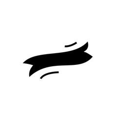 ribbon label flag icon black vector image