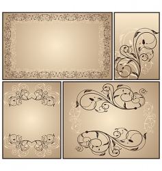 set a decorative vintage vector image