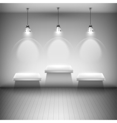 Tree Illuminated Shelves In The Room vector image