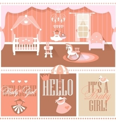 Baby girl shower cards Nursery interior vector image vector image