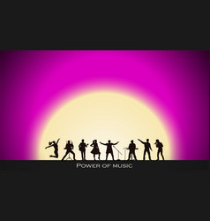 band show on pink sunset background festival vector image vector image