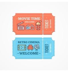 Cinema Tickets Flat Icon Set vector image vector image