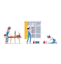 Male janitor wiping indoors vector